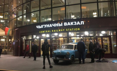 On the second floor of the Minsk train station was installed ... a Moskvich